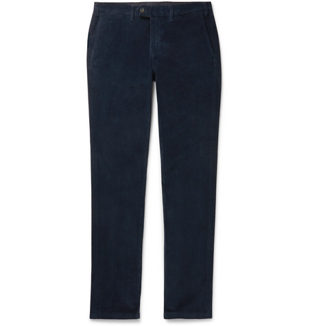 Canali Navy Cotton-Blend Corduroy Trousers