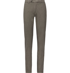 Canali Herringbone Stretch-Cotton Trousers