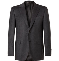 Canali Navy Micro-Checked Wool Suit Jacket