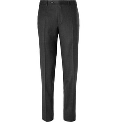 Canali Navy Micro-Checked Wool Suit Trousers