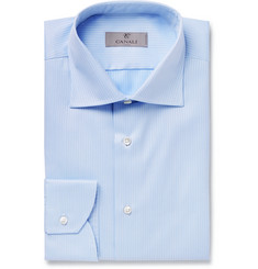 Canali Light-Blue Slim-Fit Micro-Herringbone Cotton Shirt