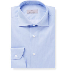 Canali Blue Slim-Fit Cutaway-Collar Striped Cotton-Twill Shirt