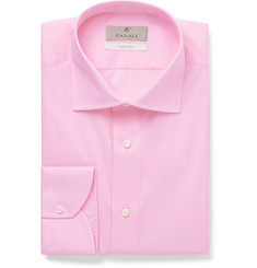 Canali Light-Pink Slim-Fit Cotton-Poplin Shirt