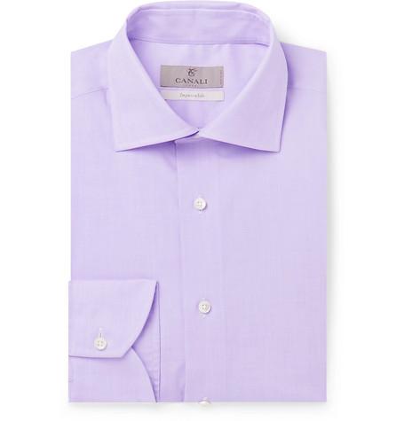 CANALI | Canali - Lilac Slim-Fit Cotton-Poplin Shirt - Lilac | Goxip