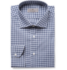 Canali Navy Slim-Fit Checked Cotton-Poplin Shirt