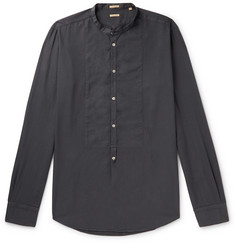 Massimo Alba Grandad-Collar Bib-Front Brushed-Twill Half-Placket Shirt