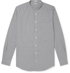 Massimo Alba Slim-Fit Grandad-Collar Micro-Checked Cotton Shirt
