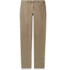 Incotex Mushroom Slim-Fit Garment-Dyed Stretch-Cotton Moleskin Trousers