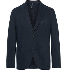 Incotex Navy Garment-Dyed Cotton and Cashmere-Blend Twill Blazer