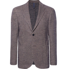 Incotex - Burgundy Slim-Fit Unstructured Puppytooth Cotton and Virgin Wool-Blend Blazer