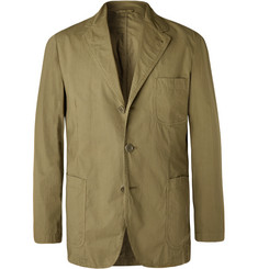 Aspesi Army-Green Slim-Fit Unstructured Garment-Dyed Cotton Blazer