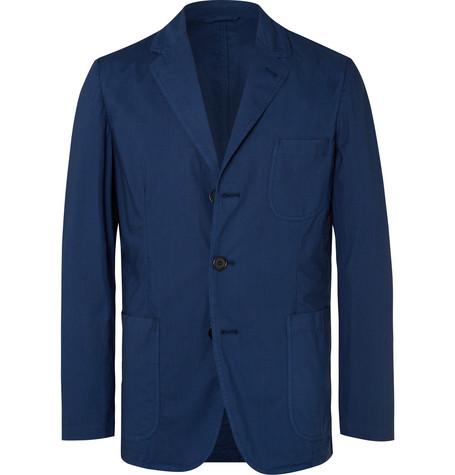 ASPESI | Aspesi - Dark-blue Slim-fit Unstructured Garment-dyed Cotton Blazer - Blue | Goxip