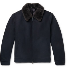Brioni - Shearling-Trimmed Wool Bomber Jacket