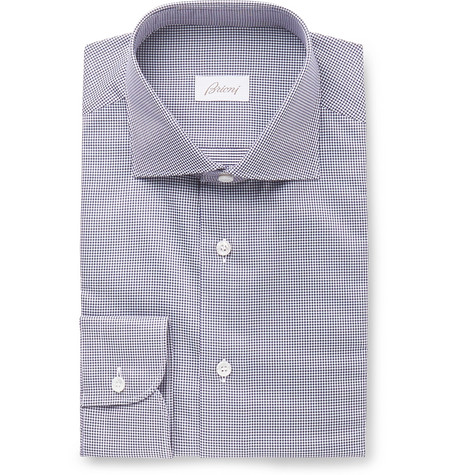 Brioni Navy Cutaway-Collar Puppytooth Cotton Shirt