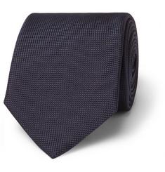 8cm Woven Silk Tie - Navy