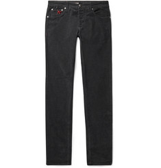 Isaia - Charcoal Slim-Fit Cotton-Blend Corduroy Trousers