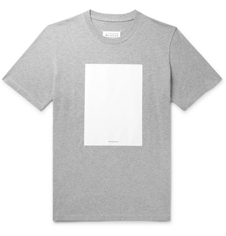 Maison Margiela Shell-Panelled Mélange Cotton-Jersey T-Shirt
