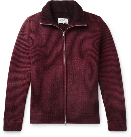 Ribbed Wool Zip Up Sweater by Maison Margiela