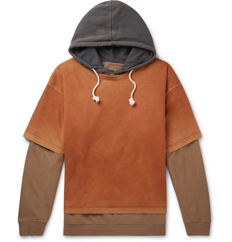 Maison Margiela Oversized Layered Garment-dyed Loopback Cotton-jersey Hoodie In 131 Kaki Overdye