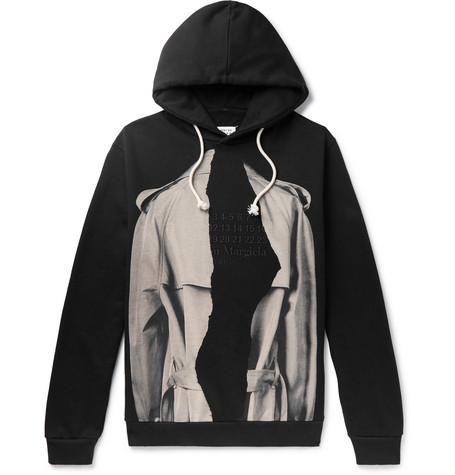 Maison Margiela – Printed Loopback Cotton-jersey Hoodie – Black