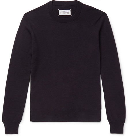 Suede Elbow Patch Cotton And Wool Blend Sweater by Maison Margiela