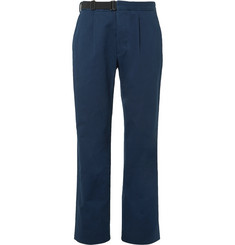Maison Margiela - Dark-Blue Pleated Cotton-Gabardine Chinos