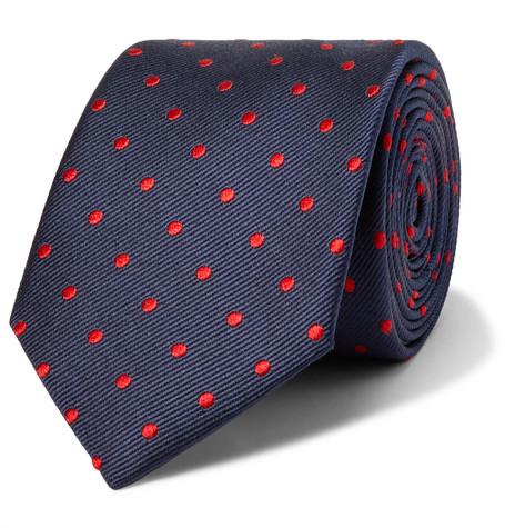 Lanvin – 7cm Polka-dot Silk Tie – Navy