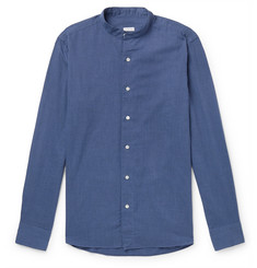 Caruso Grandad-Collar Herringbone Cotton Shirt
