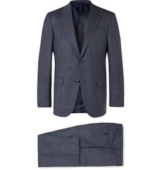 Ermenegildo Zegna Navy Milano Easy Slim-Fit Mélange Wool, Linen and Silk-Blend Suit