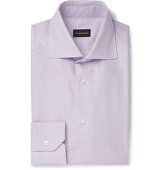 Ermenegildo Zegna Lilac Cutaway-Collar Prince of Wales Checked Cotton Shirt