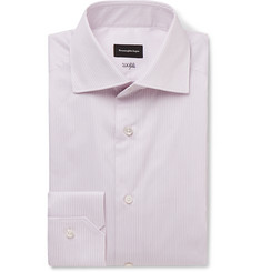 Ermenegildo Zegna Pink Cutaway-Collar Striped Cotton-Poplin Shirt