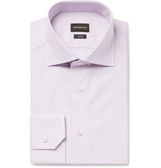 Ermenegildo Zegna Grape Slim-Fit Cutaway-Collar Checked Trofeo Cotton-Poplin Shirt
