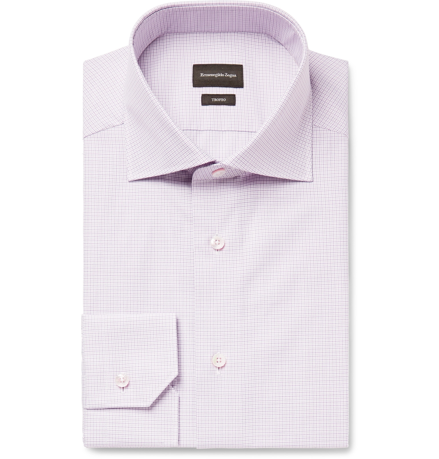 5faf3b71 Ermenegildo Zegna - Grape Slim-Fit Cutaway-Collar Checked Trofeo  Cotton-Poplin Shirt