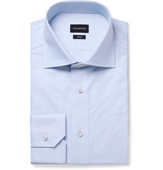Ermenegildo Zegna - Light-Blue Trofeo Slim-Fit Cutaway-Collar Herringbone Cotton-Poplin Shirt