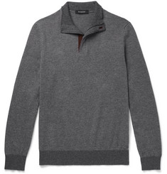 Ermenegildo Zegna Slim-Fit Suede-Trimmed Cashmere and Cotton-Blend Half-Zip Sweater