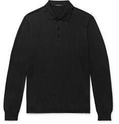 Ermenegildo Zegna Knitted Cotton and Cashmere-Blend Polo Shirt