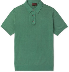 Altea - Knitted Linen and Cotton-Blend Polo Shirt