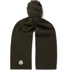 Moncler Logo-Appliquéd Ribbed Virgin Wool Scarf