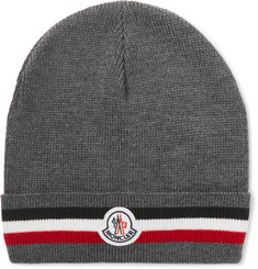 Moncler Logo-Appliquéd Striped Ribbed Virgin Wool Beanie