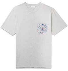 Sunspel Printed Voile-Trimmed Mélange Cotton-Jersey T-Shirt