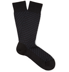 Ermenegildo Zegna Textured Stretch Cotton-Blend Jacquard Socks