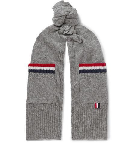 Thom Browne – Striped Shetland Wool Scarf – Gray