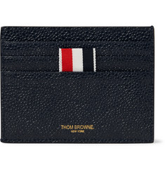 Thom Browne - Striped Grosgrain-Trimmed Pebble-Grain Leather Cardholder