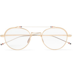 Thom Browne Round-Frame Gold and Silver-Tone Sunglasses