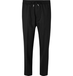 Mr P. Black Slim-Fit Wool-Twill Drawstring Trousers