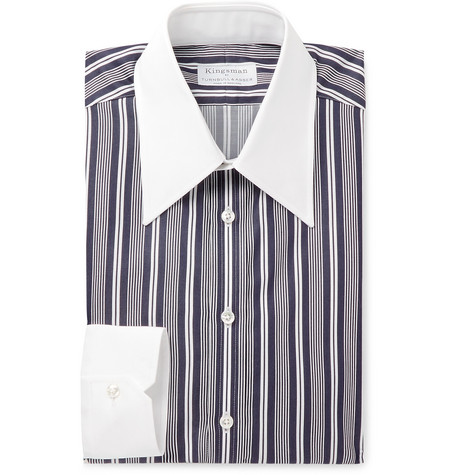 Kingsman + Turnbull & Asser Rocketman Navy Slim-Fit Striped Cotton Shirt