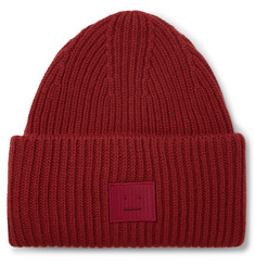 Logo-appliquéd Ribbed Wool Beanie - Brick