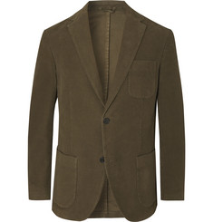 Altea - Dark-Green Slim-Fit Cotton-Blend Moleskin Suit Jacket