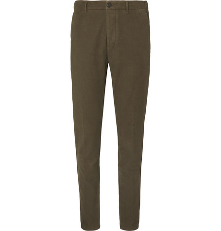Altea Dark-Green Tapered Cotton-Blend Moleskin Drawstring Suit Trousers