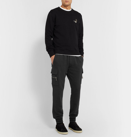 Dolce & Gabbana Tapered Loopback Cotton-Jersey Sweatpants In Gray